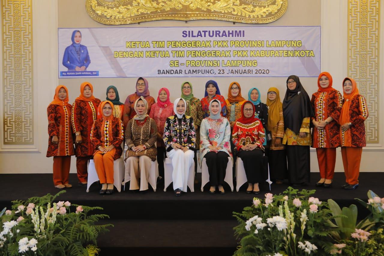 Hj. Dessy Afriyanti Adipati Hadiri Acara Silahturahmi Ketua Tim Pengerak PKK Se Provinsi Lampung